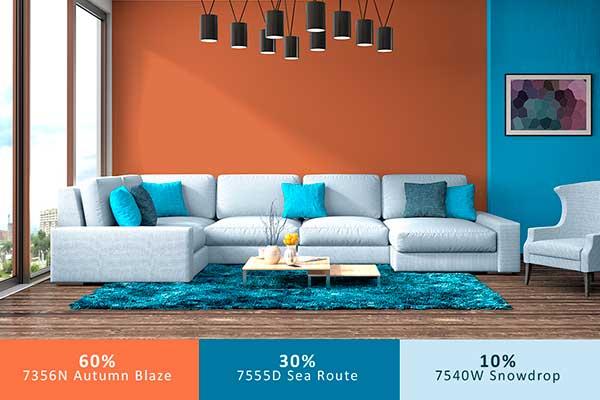 cách phối màu trong thiết kế nội thất 60-30-10