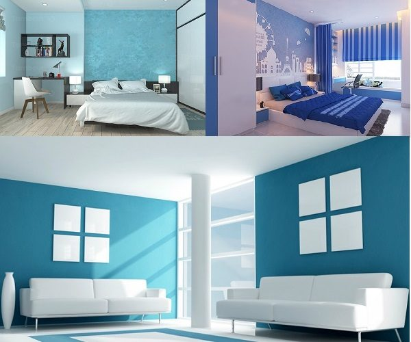 sơn nhà màu xanh dương cho mệnh thủy