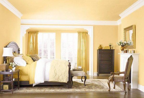 sơn phòng ngủ bằng sơn Mykolor màu vàng kem