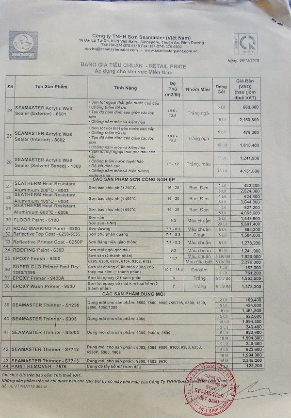 Bảng báo giá sơn Seamaster tiêu chuẩn