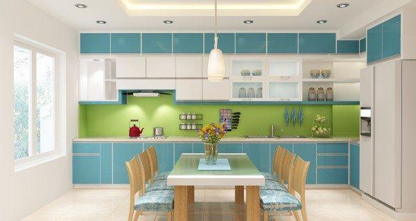 phòng bếp màu xanh cốm