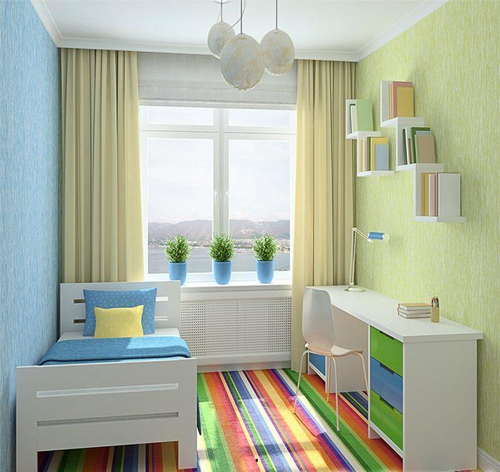 phòng ngủ màu xanh cốm cho trẻ em