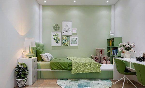 phòng ngủ màu xanh cốm cho vợ chồng