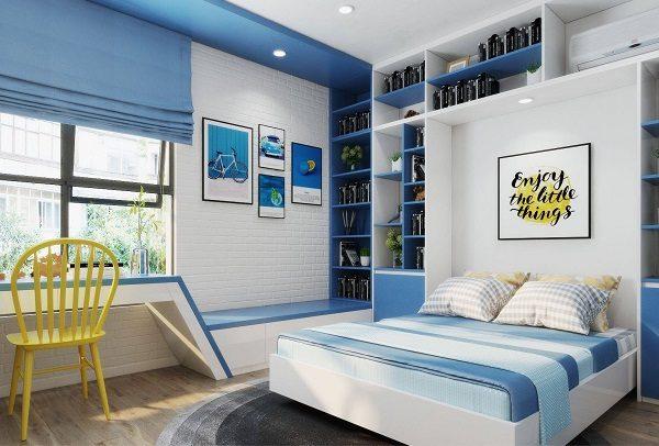 Sơn nhà màu xanh dương kết hợp với màu trắng