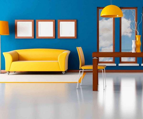 Sơn nhà màu xanh dương kết hợp màu vàng