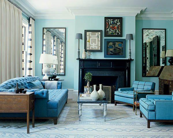 Sơn nhà màu xanh dương với phong cách vintages
