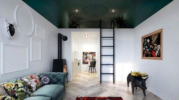 Sơn trần nhà đẹp đậm hơn màu tường
