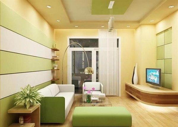 Sơn trần nhà đẹp trùng với màu tường