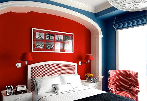 Sơn nhà màu xanh dương phối với màu đỏ