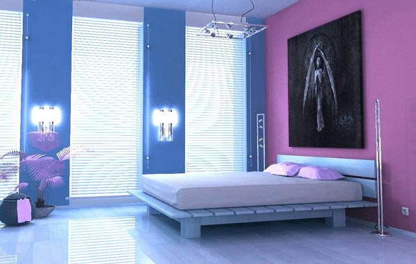 Sơn nhà màu xanh dương phối với màu tím