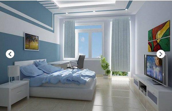 Sơn nhà màu xanh dương phối với màu trắng