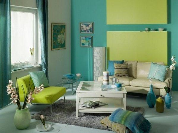 Sơn nhà màu xanh dương phối với màu xanh lá cây