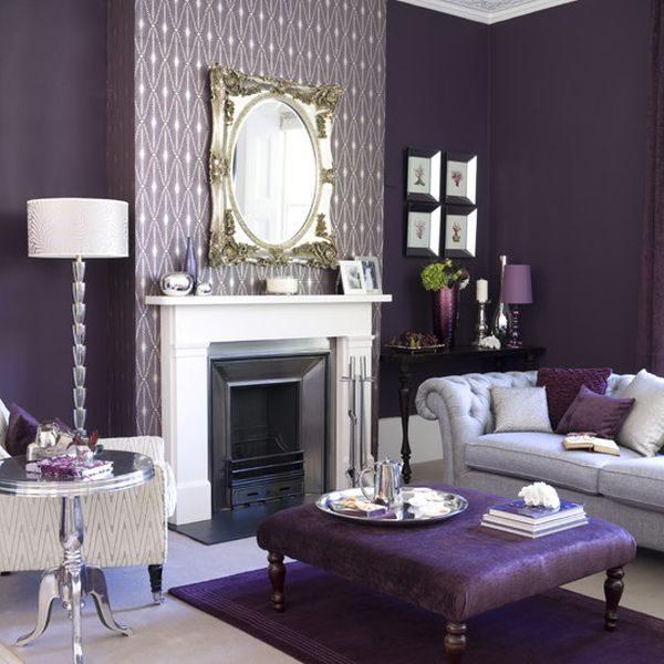 Phòng khách sơn màu tím hoàng gia