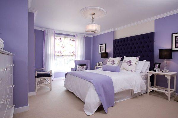 Phòng ngủ màu tím nhẹ nhàng