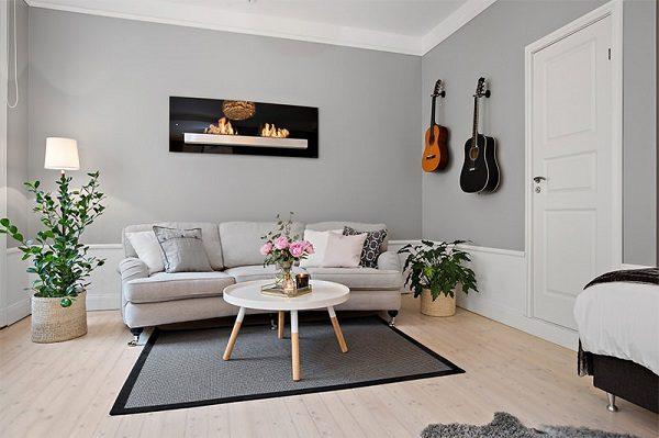 Phối màu sơn nhà màu ghi và trắng