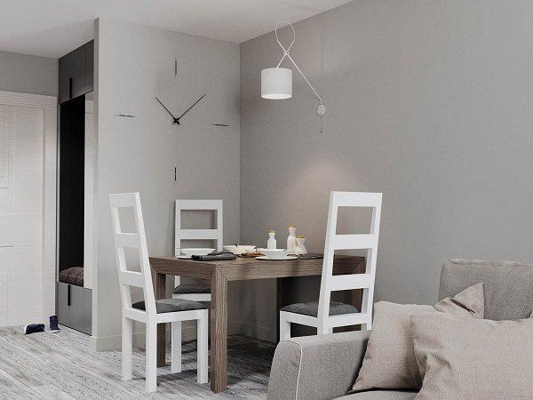 Phòng bếp sơn màu ghi và trắng