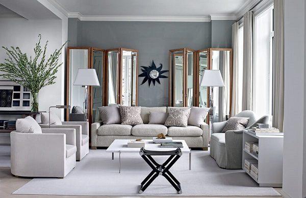 Phòng khách sơn màu ghi và màu trắng