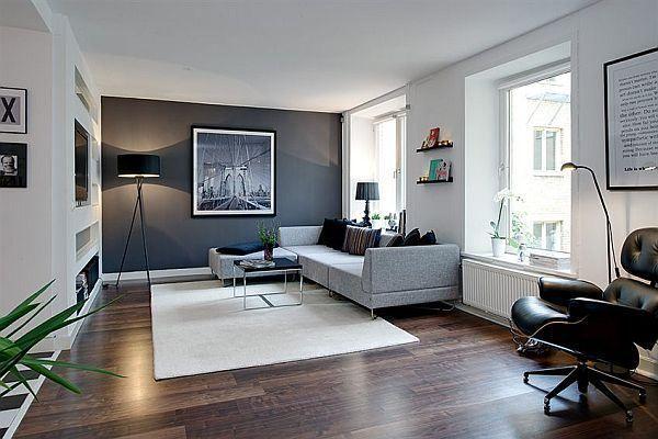 Phòng khách sơn màu ghi và trắng