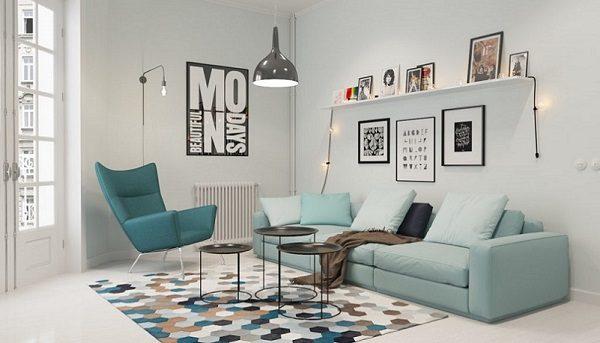 Sơn Mykolor màu xanh pastel cho phòng khách 1