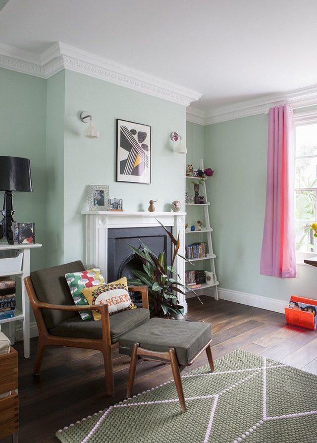 Sơn Mykolor màu xanh pastel cho phòng khách 2