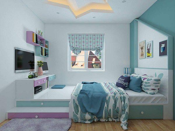 Sơn Mykolor màu xanh pastel cho phòng ngủ 2
