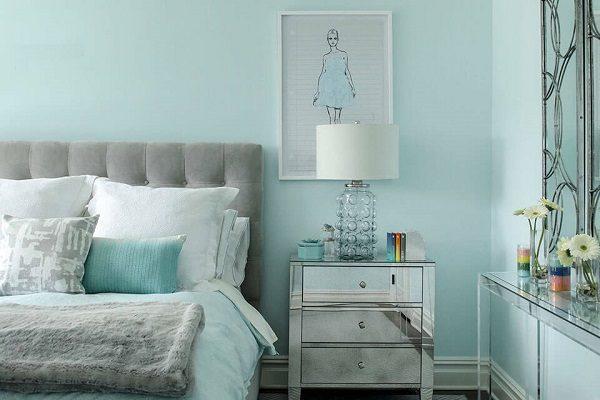 Sơn Mykolor màu xanh pastel cho phòng ngủ