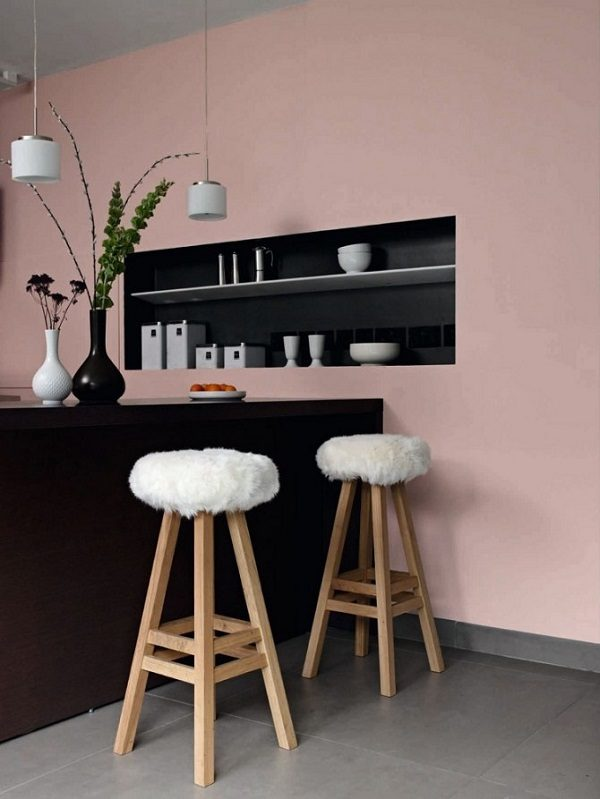 Sơn phòng bếp màu hồng đất