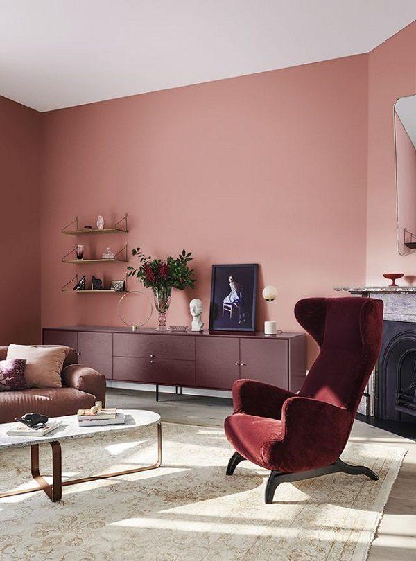 Sơn phòng khách màu hồng đất