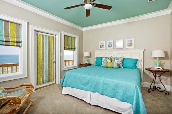 Sơn trần nhà màu xanh ngọc