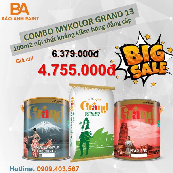 Combo khuyến mãi sơn Mykolor Grand 13 nội thất kháng kiềm cao cấp 1️⃣