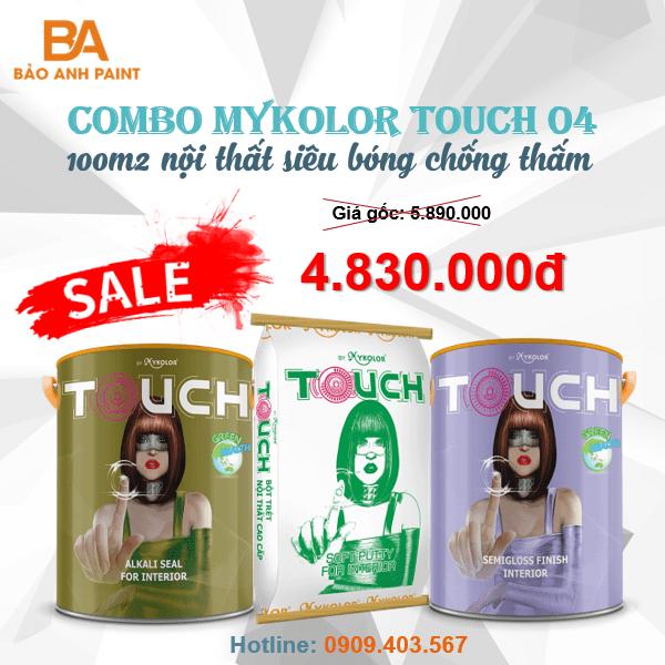 Combo Mykolor Touch 04 sơn nội thất siêu bóng chống thấm cao cấp 1️⃣
