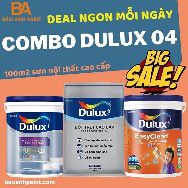 Combo Dulux 04 sơn nội thất lau chùi vượt bật giá rẻ